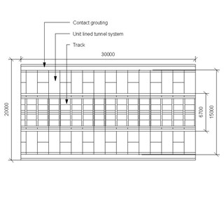 LOD 4 Plan representation of Unit lined tunnel system.