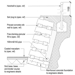 LOD 5 2D Section representation of Concrete crib wall units.