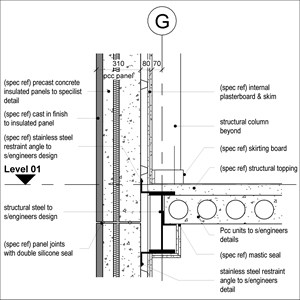 LOD 5 2D Section representation of Concrete structural insulated panels (SIPs).
