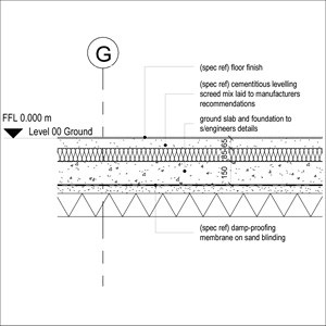 LOD 4 2D Detail representation of Cementitious levelling screed mixes.