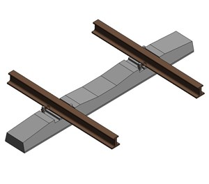 LOD 4 Model representation of Concrete monoblock sleepers.