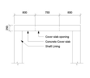 LOD 5 2D Section representation of Concrete shaft cover slab.
